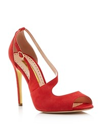 Rupert Sanderson Jewel Asymmetrical Peep Toe Sandals Red