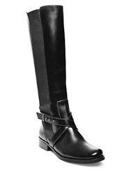 Steve Madden Sydnee Knee High Leather Boots Wide Calf Black