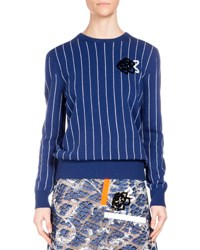 Christopher Kane Striped Wool Sweater W Sequin Rose Blue