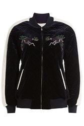 Sjyp Embroidered Velour Zipped Jacket Blue