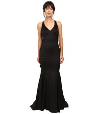 Adrianna Papell Stretch Taffeta Back Ruffle Gown Black Women's Dress
