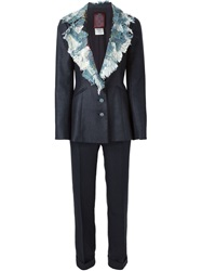 John Galliano Vintage Patch Detail Jacket Suit Blue