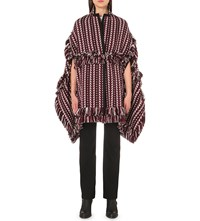 Burberry Fringed Wool And Silk Blend Poncho Russet Brown