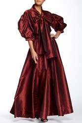 Tov Faux Leather Waist Front Zip Maxi Skirt Red