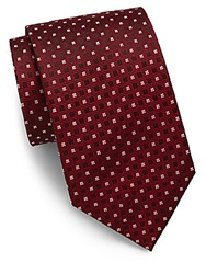 Saks Fifth Avenue Tonal Square And Cross Silk Tie Red Black