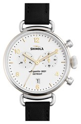 Women's Shinola 'The Canfield Chrono' Leather Strap Watch 38Mm