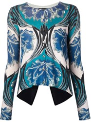Yigal Azrouel Printed Cardigan Blue