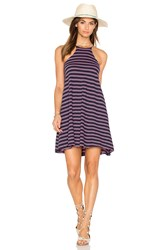 Bobi Double Stripe Jersey Tank Mini Dress Navy