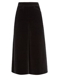 Saint Laurent High Waisted Wide Leg Velvet Culottes Black