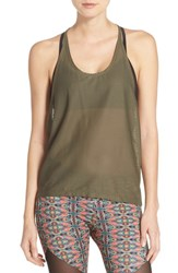 Women's Onzie Mesh T Back Tank Green Olive