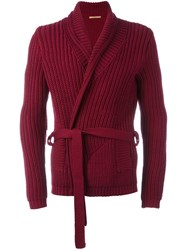 Nuur Belted Cardigan Red