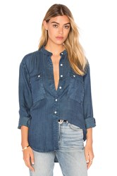 Frame Denim Le Troop Button Up Blue