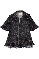 Roksanda Ilincic Rosler Ruffled Printed Silk Twill Blouse Midnight Blue