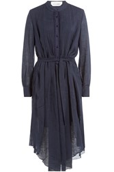 See By Chloe Belted Cotton Linen Dress Blue