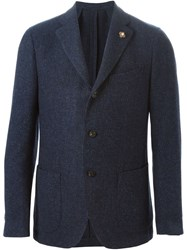 Lardini Button Blazer Blue