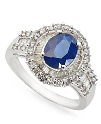 Macy's 14K White Gold Ring Sapphire 1 1 2 Ct. T.W. And Diamond 3 4 Ct. T.W. Oval Ring Blue