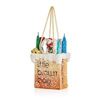 Bloomingdale's Little Brown Bag Santa Ornament Multi