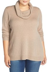 Sejour Cowl Neck Wool And Cashmere Sweater Plus Size Brown