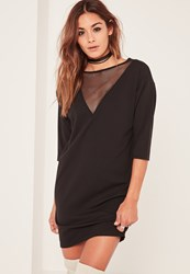 Missguided Black Mesh Insert V Neck Oversized Dress
