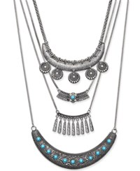 Macy's Silver Tone Layered Turquoise Look Bib Necklace