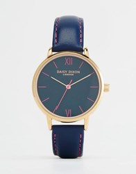 Daisy Dixon Hot Pink Leather Watch Navy Blue