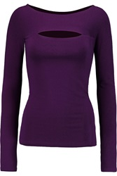 Donna Karan Cutout Stretch Jersey Top