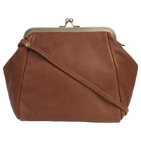 Fat Face Leather Clip Frame Bag Brown