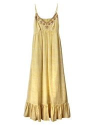 East Embellished Silk Dress Lemon
