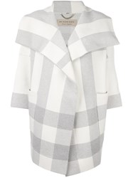 Burberry Checked Oversized Coat Grey