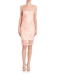 Tadashi Shoji Sleeveless Lace Sheath Dress Coral Blush