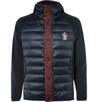 Moncler Grenoble Lim Fit Panelled Quilted Hell And Fleece Jacket Navy