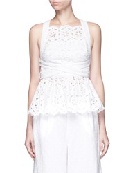 Zimmermann 'Roza' Open Back Broderie Anglaise Lace Bib Top White