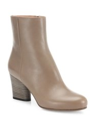 Maison Martin Margiela Leather Stacked Heel Booties Mud