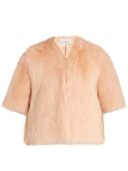Raey Short Shearling Coat Nude