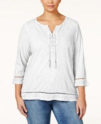 Styleandco. Style And Co. Plus Size Lace Up Three Quarter Sleeve Peasant Top Only At Macy's Winter White