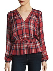 Romeo And Juliet Couture Long Sleeve Plaid Top Red Multi