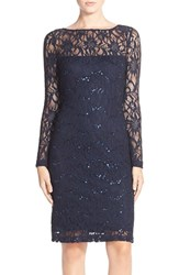 Women's Js Collections Illusion Lace Dress Navy
