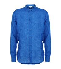 Orlebar Brown Morton Classic Fit Linen Shirt Male Blue