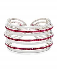 Nini Collection 18K White Gold And Ruby Seven Row Cuff Bracelet