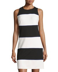 Julie Brown Leah Fitted Colorblock Sheath Dress Ivory Black