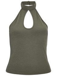 Miss Selfridge Keyhole Halter Crop Top Khaki