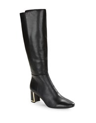 Karl Lagerfeld Sachee Leather Knee High Boots Black