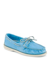 Sperry Salt Washed Turquoise Canvas Boat Shoes