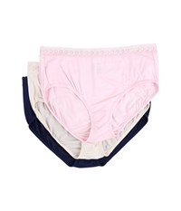 Jockey Elance Supersoft Lace Classic Fit Brief Pink Shimmer Navy Women's Underwear Multi