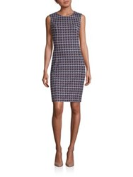 Peserico Cotton Houndstooth Dress Blue Multi