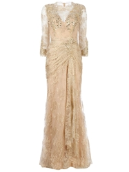 Zuhair Murad Embellished Lace Gown Metallic