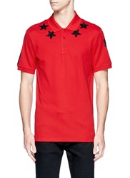 Givenchy Star Patch Polo Shirt Red