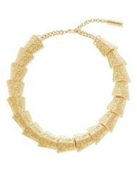 Steve Madden Textured Graduated Geo Shape Necklace Gold
