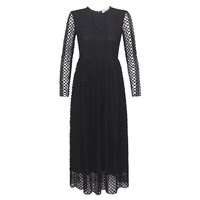 Bora Aksu Lace And Cotton Long Sleeve Black Dress