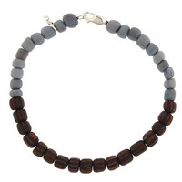 Men In Cities Two Tone Bead Bracelet Grey And Black Red Striped
